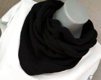 Black minimalist scarf Minimalist triangle scarf Minimalist scarf Black minimalist triangle scarf Knitted scarf Knitted Eco cotton scarf