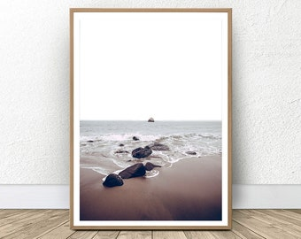Beach Wall Art Print, Coastal Decor, Ocean Water, Beach Photo, Moody Ocean, Minimalist Wall Decor, Modern Minimalist, Digital Coastal Art