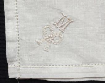 "Initial ""M"" Lady's Vintage Linen Handkerchief"
