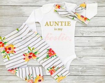 Aunt Baby Clothes, Aunties Girl, Niece Gift, Niece Shirt, Niece Outfit, Auntie Is My Bestie, Baby Gift Aunt, Aunties Baby