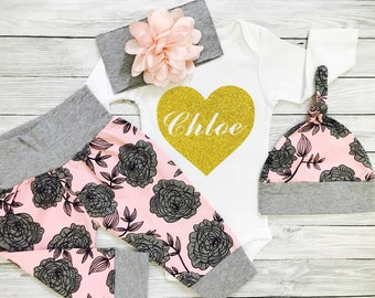Personalized Coming Home Outfit Baby Girl, Newborn Girl, Baby Girl Coming Home Outfit, Newborn Girl Outfit, Coming Home Outfit Girl