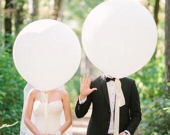 """Giant White 36"""" Balloon - Jumbo Wedding White Balloon - White Large Round Balloon"""