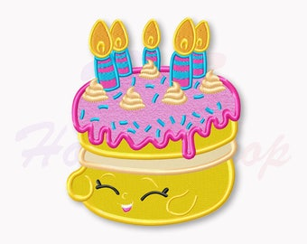 Shopkins Birthday cake Applique Embroidery Design, Shopkins Machine Embroidery Designs, Shopkins Birthday, Digital Instant Download, #010