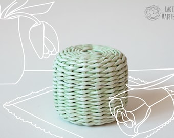 Small storage basket with lid Pastel green gift box Wicker basket Small coworker gift Pastel Lidded box Easter gift idea Round wicker box