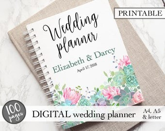 Engagement gift, PDF download, Bridal gift idea, Wedding planner printable, Wedding planning book, Printable wedding planner, Wedding binder