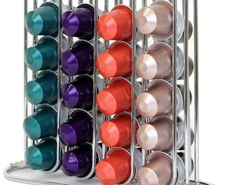 Sleek Coffee Pod Holder Organizer for 40 Coffee Pods for Nespresso OriginalLine and Creamer Pods - Compact