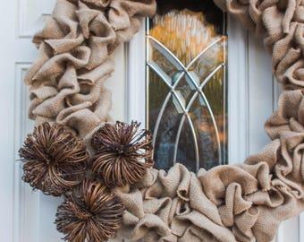 """Burlap pumpkin Wreath Handmade in Oregon 18"""""""