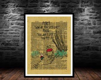 winnie the pooh, 100 aker wood, tigger, piglet, eeyore, christopher robin, winnie pooh, pooh bear, vintage, 100 acre woods, dictionary art