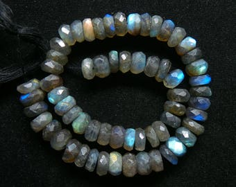 Labradorite,Faceted,Roundel, Beads,Size- 7x8 MM,Natural Labradorite,Faceted Roundel ,Beads, AAA Quality, Beads,Natural Gemstone,10.5 INCH