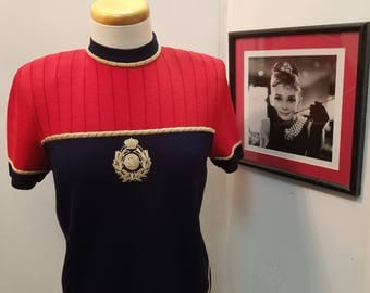 Vintage St John Collection Small Navy and Red Top