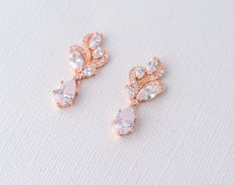 Aya Cubic Zirconia Earrings - Rose Gold, Drop Earrings Wedding, Bridal Jewelry, Bride Earrings, Vintage bridal earrings, CZ Rose Gold