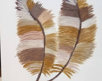 Hand pained Gold and neutral colored feathers