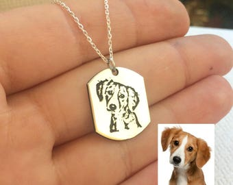 Picture Engraved Necklace, Custom Photo Necklace, Engraved Photo, Dog Lovers Gift, Actual Picture, Photo Engraving, Pet Memory Necklace
