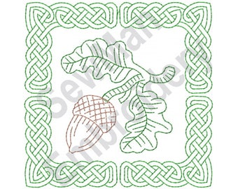Celtic Knot Acorn Square - Machine Embroidery Design