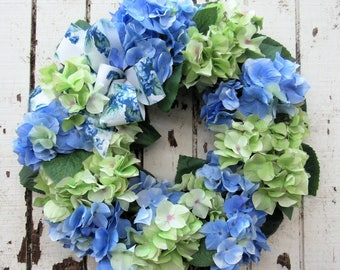 Spring Hydrangea with Blue and Green Hygrandeas and a beautiful Blue and White floral Bow - Ready to Ship