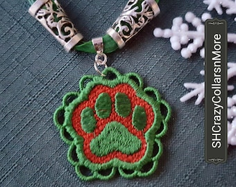 PAWPRINT NECKLACE,  FSL Embroidery
