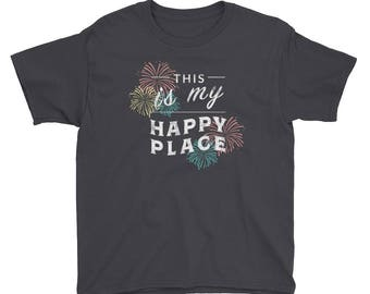 This is My Happy Place - Orlando, Florida Disney World Fans Gift Kids/Youth Short Sleeve T-Shirt