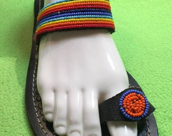 ON SALE AFRICAN Sandals, African Leather Sandals, Tribal Sandals, Colorful Sandals, Leather Sandals, Summer Sandals, Beaded Sandals, Women S