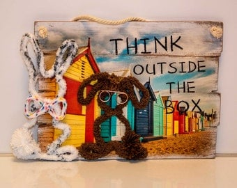 """HOT inspired by John Oliver # Marlon Bundo bunny # LGBTQ #pride """"Think outside the box"""" message picture with 2 bunnies"""