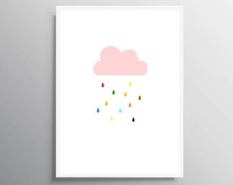 Nursery Cloud  print, digital download, Cloud print, Cloud rain print, Girl nursery decor, Instant download, baby shower gift, Baby shower