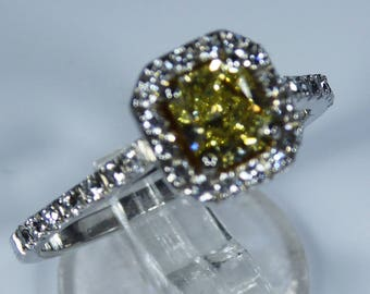 Anchorcert Certified Platinum 0.83ct Fancy Yellow Canary Diamond Halo Engagement Ring