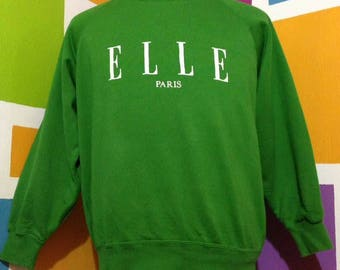 Vintage 90s Elle Paris Sweatshirt Pullover Green Colour Elle Paris Spell Out Jumper