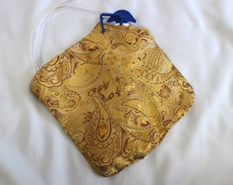 Gold Paisley Satin Brocade Cloth Catheter Bag Cover 2000 mL Urine Drainage 10 by 10""