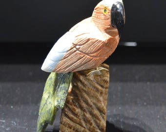 Animals - Sculpture Parrot stone natural 199 g - Natural stone carved parrot