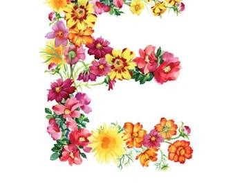 Letter E Print - Emily Nursery Art - 11x14in