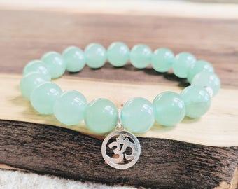 Aventurine Crystal Healing Bracelet Reiki-Infused with Om Charm