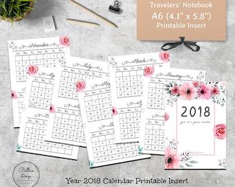 Dated Monthly Insert, Planner 2018, Calendar 2018 A6, Foxy Fix No 3, A6 Monthly Planner, A6 Inserts, Floral Planner, Planner Refill A6