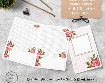 5.5 x 8.5 Planner Printables, Half Size Planner Printables, Half Letter Daily Insert, Travelers Notebook Refills, Grid Planner Insert, Midor