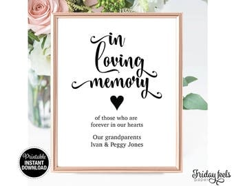 In loving Memory Wedding Sign Template, Self-editing Sign, Instant Download PDF, WS01