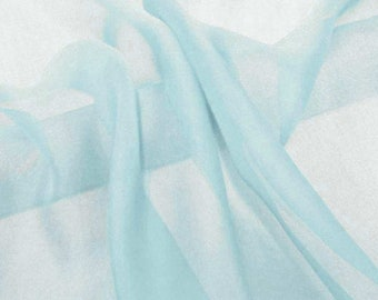 Super soft Pure Mulberry Silk Solid light blue  pure silk chiffon fabric material sheer # hac 24,