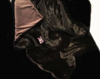 Chocolate Brown Faux Fur Weighted Blanket / 1.5m x 90cm