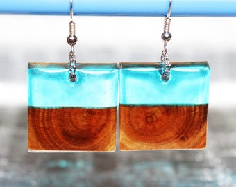 Wood Earrings Blue Resin Jewelry Dainty, Nature Jewelry Gift Wood Resin Earrings Sweet, Rustic Wedding Jewelry loving Earrings Gift For Her