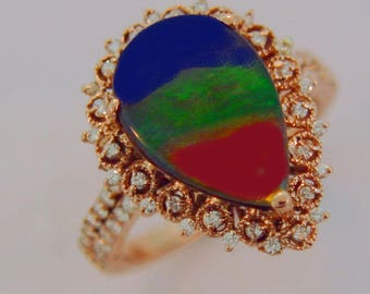 Canadian Ammolite with Diamond set on 14k Rose Gold