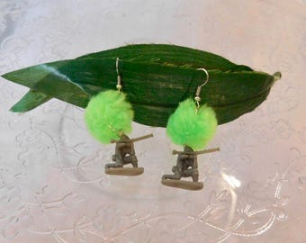 Lolita army soldier earrings