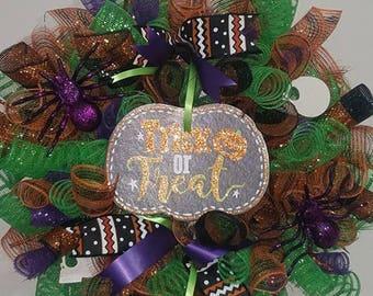 Trick or Treat Deco Mesh Wreath