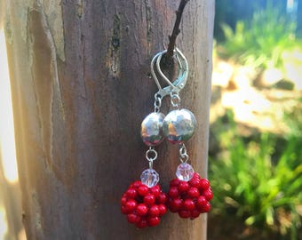 AUDREY...Red beaded crystal cluster earrings