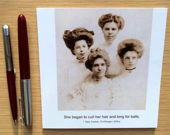 Vintage funny card - black and white photography card  - Funny balls card -   Jane Austen quotation card - Hair card - Trans card -