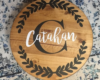 wooden lazy susan round wood tray hand painted last name sign