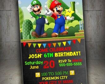 Super Mario Printable, Super Mario Party, Mario Chalkboard, Super Mario Invitations, Super Mario Birthday Invitation, Mario Invitation