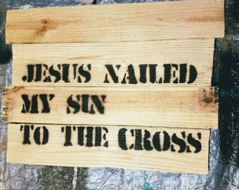 Pallet wood and metal Christian signs