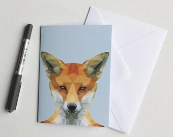 Cute low poly Fox Note Card on a light blue background  / Greeting Card