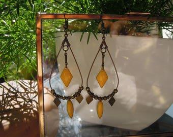 Drop earrings handmade/gift yellow/dangling/diamond/shuttle/geometric/bronze/made for women
