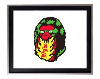 Bape Fire Poster or Art Print (a bathing ape)