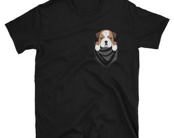 Funny English Bulldog Pocket T-Shirt Cute Dog Gift