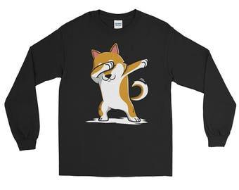 Cute Dabbing Shiba Inu Dog Long Sleeve T-Shirt Funny Dab Dance Gift