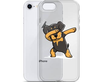 Funny Dabbing Rottweiler iPhone Case, Cute Rottweiler Gift, Rottie Dog Dab Dance Phone Case